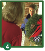 Delivering Christmas Wreath And Receive Payment